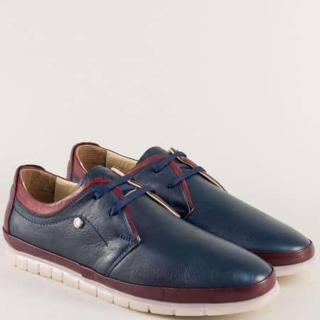 Кожени мъжки обувки с връзки в тъмно синьо и бордо mm203sbd