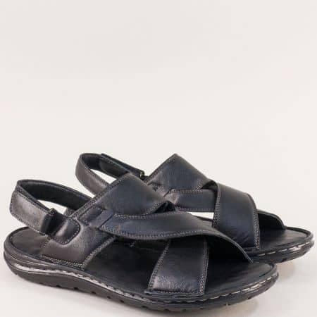 Черни мъжки сандали от естествена кожа с велкро лента mm204ch