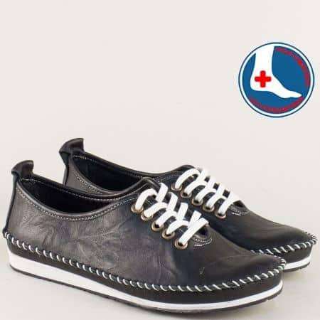 Кожени дамски обувки в черен цвят с кожена стелка mm210ch