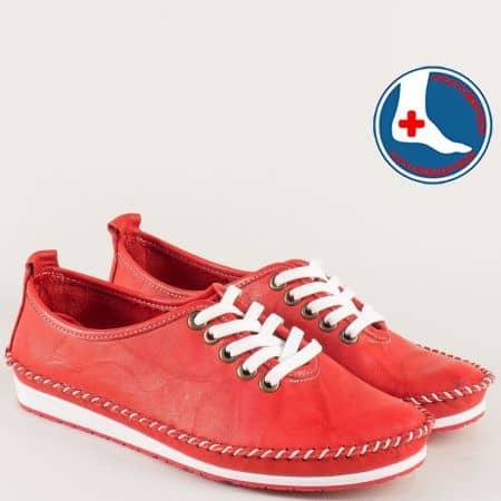 Червени дамски обувки на равно ходило с кожена стелка mm210chv