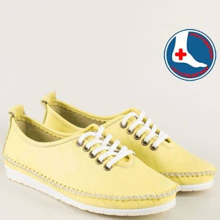 Жълти дамски обувки с връзки от естествена кожа mm210j