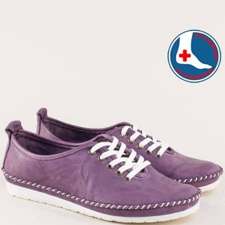 Анатомични дамски обувки от естествена кожа в лилаво mm210l