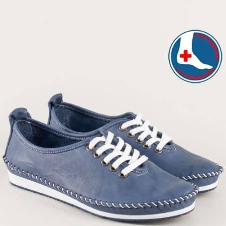 Равни дамски обувки в син цвят с кожена стелка mm210ts