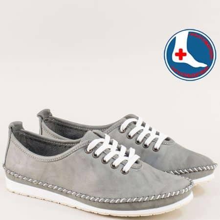 Равни дамски обувки с връзки от естествена кожа в сиво mm210sv