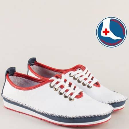 Кожени дамски обувки с връзки в бяло, червено и синьо  mm210tomi