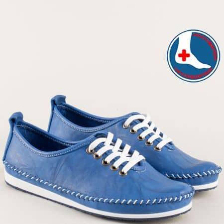 Кожени дамски обувки на равно ходило в син цвят mm210s