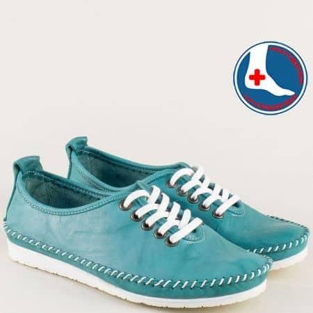 Зелени дамски обувки с връзки от естествена кожа mm210z