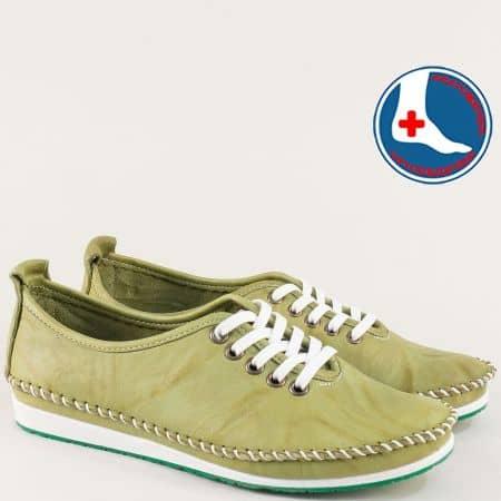 Зелени дамски обувки на равно ходило с кожена стелка mm210zz