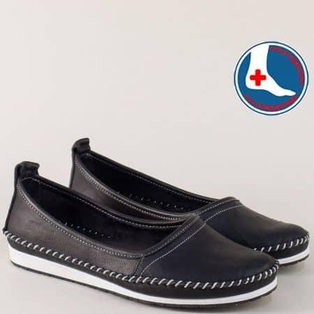 Спортни дамски обувки от естествена кожа в черен цвят на равно ходило  mm211ch