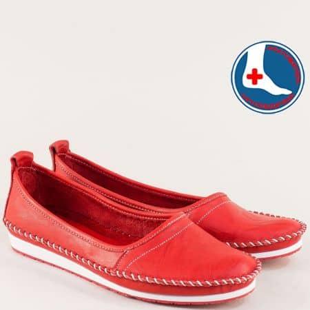 Червени дамски обувки на равно ходило с кожена стелка mm211chv