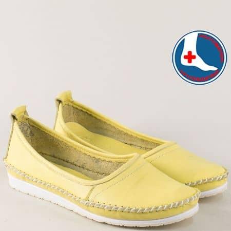 Равни дамски обувки от естествена кожа в жълт цвят mm211j