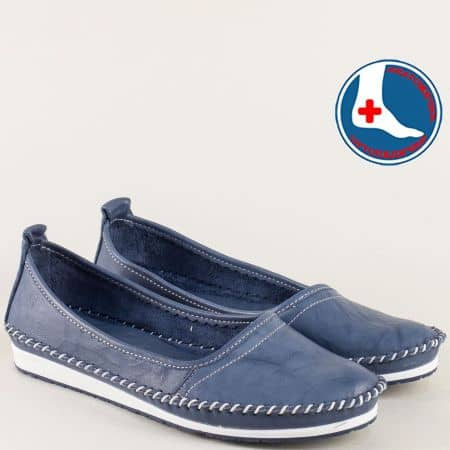 Кожени дамски обувки на равно ходило в тъмно син цвят mm211s