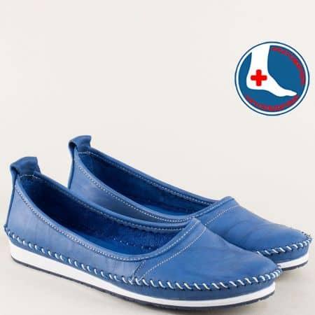 Кожени дамски обувки на равно ходило в син цвят mm211ss
