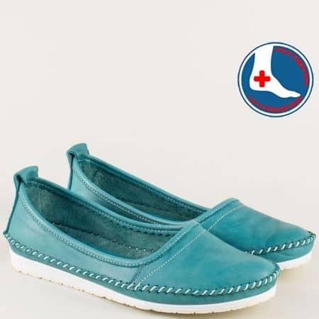 Зелени дамски обувки от естествена кожа на равно ходило mm211z