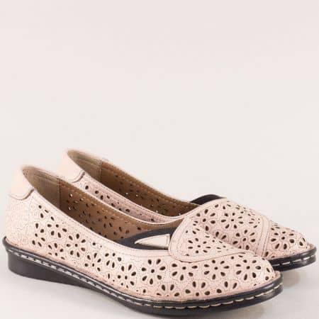 Розови дамски обувки от естествена кожа с перфорация mm250rz