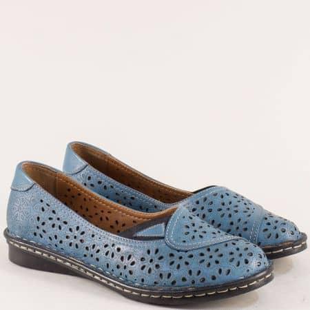 Сини летни дамски обувки на равно ходило от естествена кожа mm250s