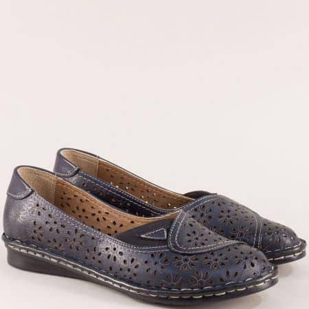 Тъмно сини дамски обувки от естествена кожа с ластик mm250ts
