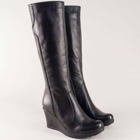 Черни дамски ботуши от естествена кожа на платформа mm301ch