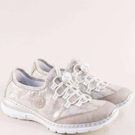 Спортни дамски обувки в сребро и бежово- RIEKER mm323ps