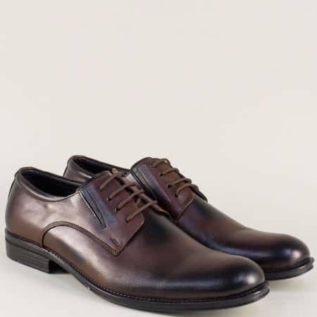 Мъжки обувки с връзки от тъмно кафява естествена кожа mm4kk