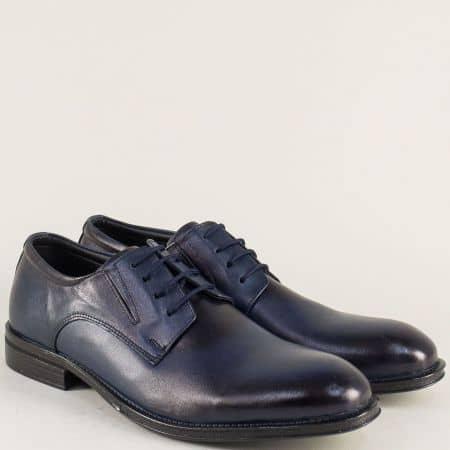 Мъжки обувки с връзки и кожена стелка в син цвят mm4s