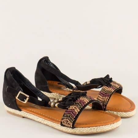 Модерни дамски сандали в черен цвят на равно ходило mm501ch