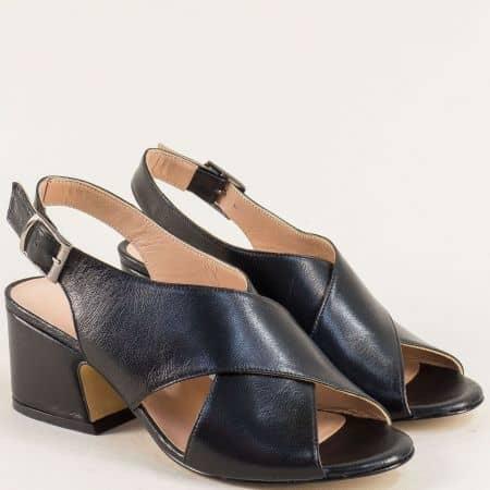 Черни дамски сандали на среден ток от естествена кожа mm503ch
