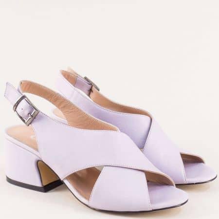 Лилави дамски сандали от естествена кожа на среден ток mm503l