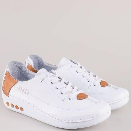 Анатомични дамски обувки с връзки в кафяво и бяло mm50b