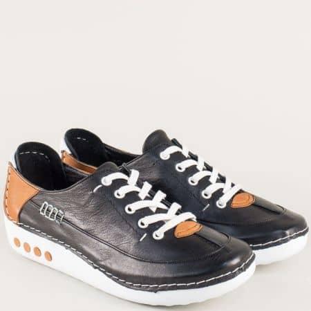 Черни дамски обувки с кожена ортопедична стелка mm50ch