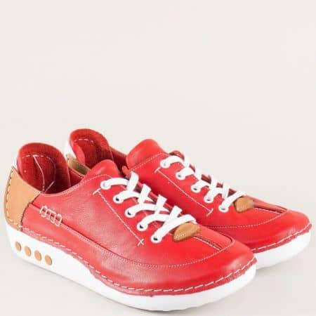 Червени дамски обувки на анатомично, шито ходило mm50chv