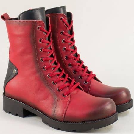 Дамски боти в червено и черно от естествена кожа mm601chvch
