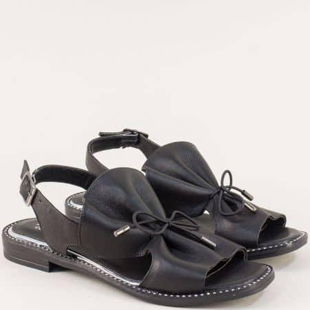 Черни дамски сандали на равно ходило с кожена стелка mm700ch