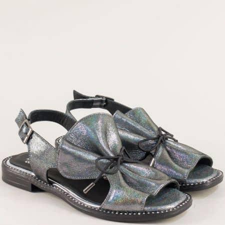 Бронзови дамски сандали с ластични връзки и катарама mm700sbrz