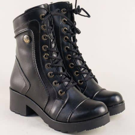 Дамски боти с топъл хастар на нисък ток в черен цвят mm720ich