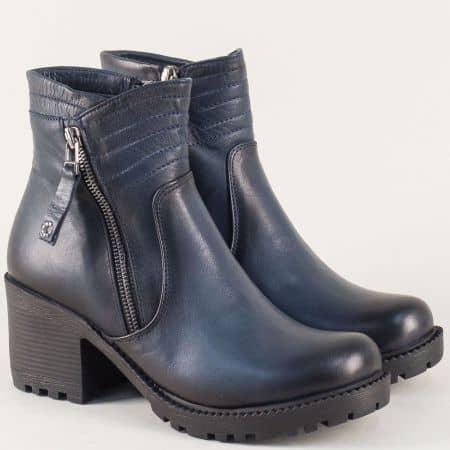 Сини дамски боти от естествена кожа на висок ток mm800s