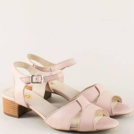 Розови дамски сандали на нисък ток от естествена кожа mm822rz