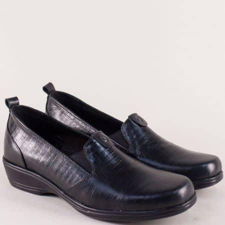 Кожени дамски обувки на нисък ток в черен цвят mm844chch