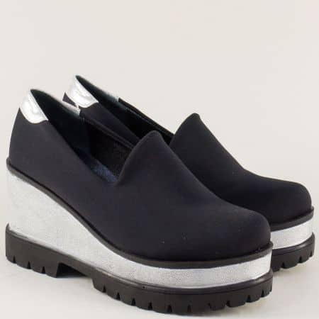 Черни дамски обувки на платформа с кожена стелка mm900sch