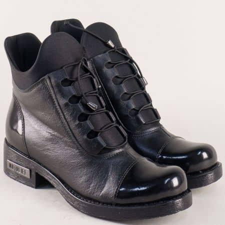 Черни дамски боти на нисък ток от естествена кожа и лак mm907ch