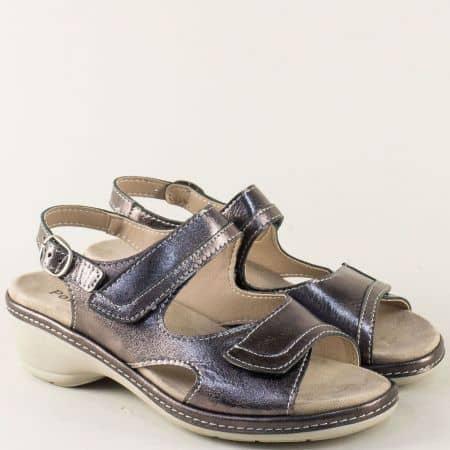 Дамски сандали от естествена кожа в бронз на нисък ток  moni192brz
