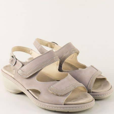 Бежови дамски сандали от естествена набук на нисък ток moni192nbj