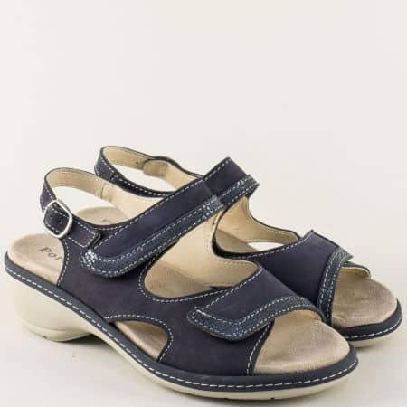 Анатомични дамски сандали с подвижна стелка в синьо moni192ns