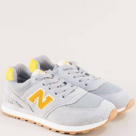 Дамски спортни обувки с връзки в сиво и жълто mt100sv
