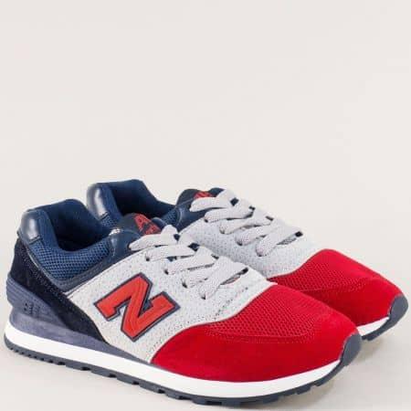 Дамски маратонки в сиво, синьо, червено и черно mt100svchv