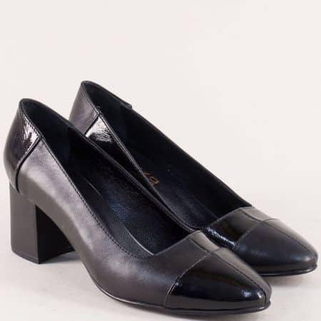 Черни дамски обувки на среден ток с кожена стелка mt104ch