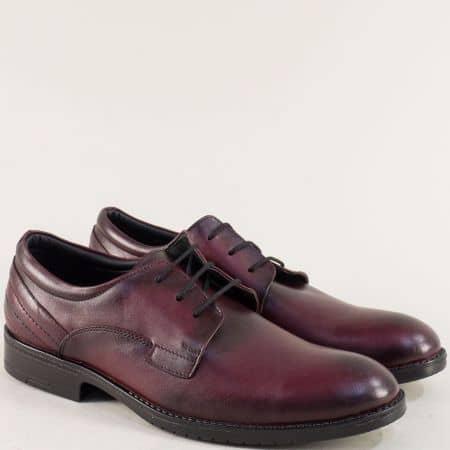 Мъжки обувки с връзки от естествена кожа в цвят бордо  mt11bd