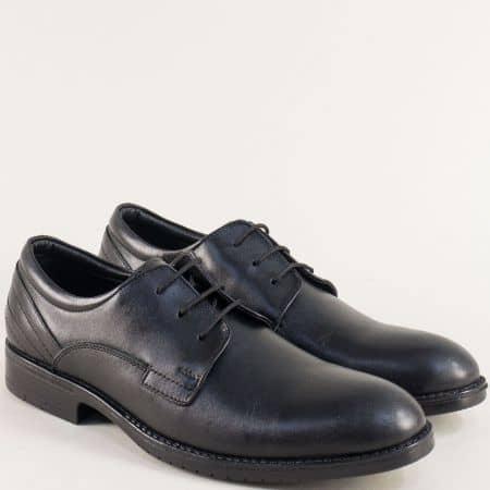 Мъжки обувки с връзки от естествена кожа в черен цвят mt11ch