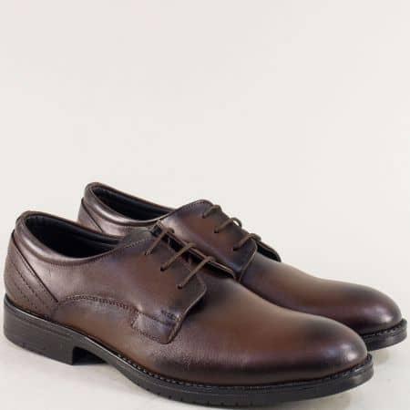 Тъмно кафяви мъжки обувки с връзки и кожена стелка mt11kk