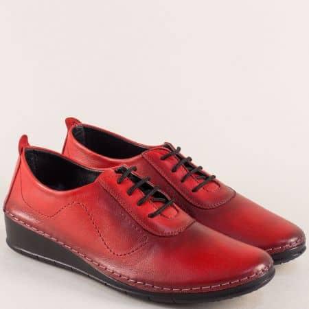 Червени дамски обувки от естествена кожа на платформа mt201chv